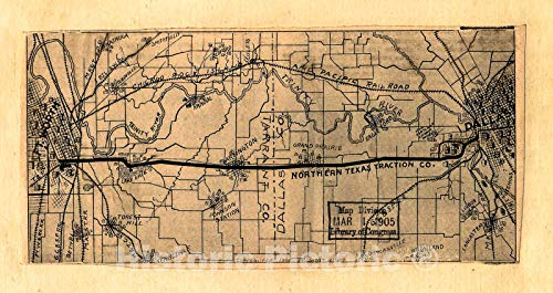 Historic 1905 Map | [Map Showing Railroads and Connecting Lines of The Northern Texas Traction Co. from Ft. Worth to Dallas, Texas 83in x - Railroad Worth Fort