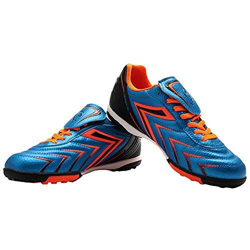 Tiebao Hombre fútbol de césped Deporte Zapatos de Fútbol PU Cuero Azul