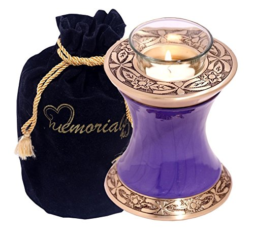 Light Urn - MEMORIALS 4U Memorials4u Baroque Purple Tealight Urn - Keepsake Urn for Ashes - Small Size - NOT Intended for Full Cremation Ash Quantity