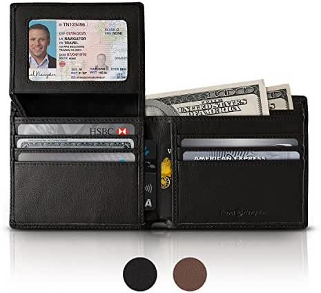 RFID Blocking Leather Wallets For Men , Black or Brown