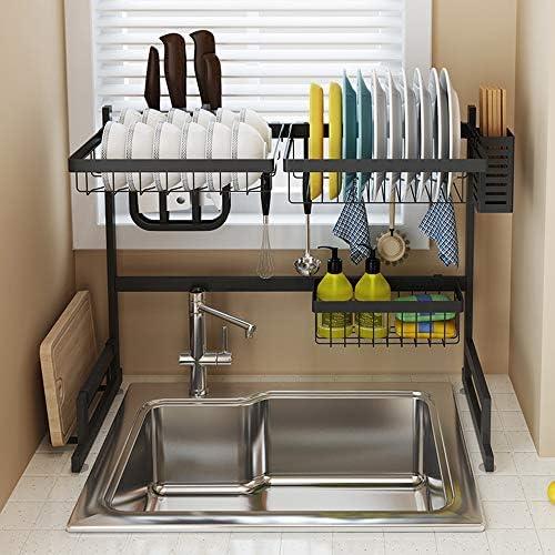 [スポンサー プロダクト]シンク上水切りラック ステンレス 水切りカゴ 皿乾燥ラック ドレインラック 食器棚 キッチンラック 収納/乾燥 丈夫で耐久性抜群 滑り止め付 組み立て簡単