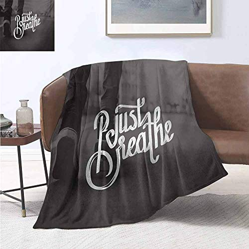 jecycleus Just Breathe Bedding Microfiber Blanket Teenager in Sneakers Walking on a Street Youth Culture Urban Scene Super Soft and Comfortable Luxury Bed Blanket W91 by L60 Inch Charcoal Grey White (Best Sneaker Stores In Seattle)
