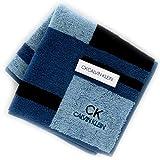 カルバンクライン 紳士 タオルハンカチ (ブルー×水色) [綿100%] ビジネス メンズ ハンドタオル 25cm CK CALVIN KLEIN 119031-9253-02
