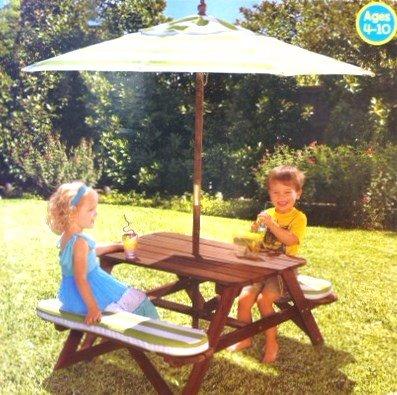 KidKraft Fun In The Sun Picnic Bench Table U0026 Umbrella Set