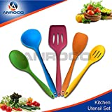 Heat Resistant Cooking Utensil Set - Non-Stick Silicone, BPA & Latex Free, 5 Pieces: Spatula, Turner, Spoonula, Mixing Spoon & Soup Laddle, Superior Comfort and Durability (Multicolor)