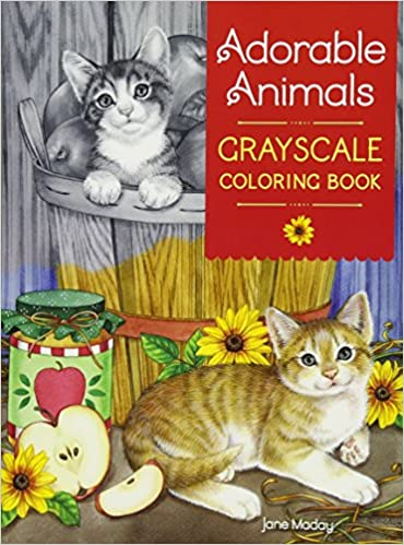 Amazon Adorable Animals Grayscale Coloring Book 9781440350511 Jane Maday Books