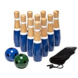Wooden Lawn Bowling Set - Includes Ten 8-Inch Pins and 2 Balls!