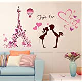 SHP-ZONE Fashion 3D Love in Paris Tower Pink Art Mural PVC Vinyl Wall Sticker Living Room Bedroom Background Home Decoration Home Decor Removable Home Decal