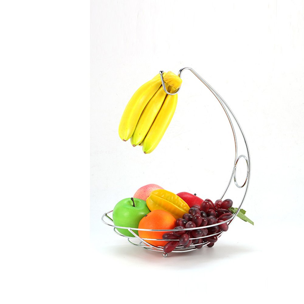 Healthy Fresh Tropical Fruit Vegetable Citrus Basket Organizer Hanging 2-tier Stand Natural Storage Shelf Rack of Round Wire Metal Stainless Steel with Handle Decorative Decor Hanger in Pantry Cabinet