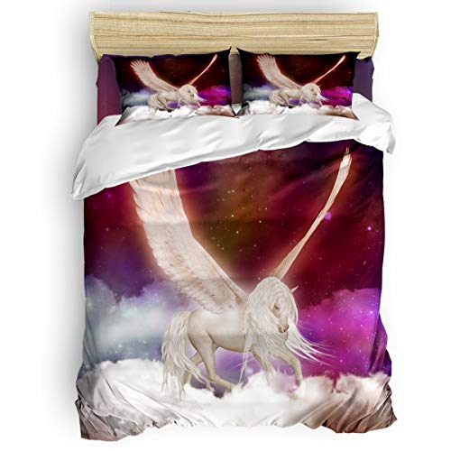 Full Funny Bed Sheet Sets Childrens Duvet Cover Set for Kids Girls Boys,Magical,Unicorn with Wings Fantasy Starry Sky Women Men Bedding Set,Include 1 Flat Sheet 1 Comforter Cover and 2 Pillow Cases