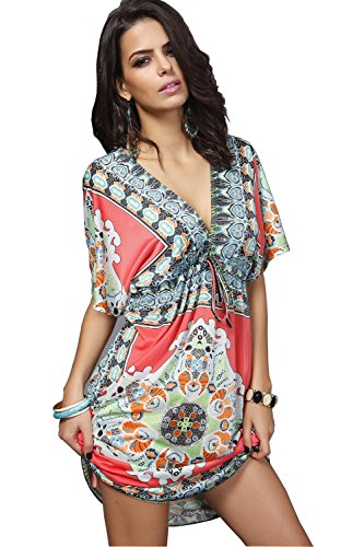Angerella Women Low-out Short Sleeves Bohemia Bathing Suit Beach Dress Cover Ups