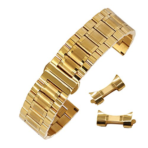 16mm Anti-Allergy Inox Steel Watch Band in Gold Solid Link Metal Watch Bracelet with Deployment Clasp