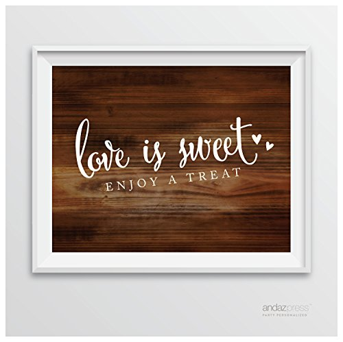 Andaz Press Wedding Party Signs, Rustic Wood Print, 8.5-inch x 11-inch, Love is Sweet, Enjoy a Treat Dessert Table Sign, 1-Pack (Sweet Treats For Weddings)