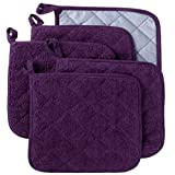 Lifaith 100% Cotton Kitchen Everyday Basic Terry Pot holder Heat Resistant Coaster Potholder for Cooking and Baking Set of 5 Grape