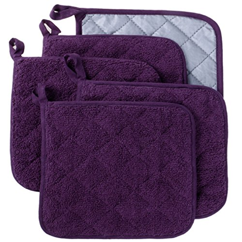 100% Cotton Kitchen Everyday Basic Terry Pot holder Heat Resistant Coaster Potholder for Cooking and Baking Set of 5 (Grape Holder)