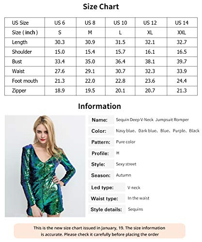 f3a76d9a44 HAOYIHUI Women s Sparkly Sequin V Neck Long Sleeve Romper Playsuit Jumpsuit