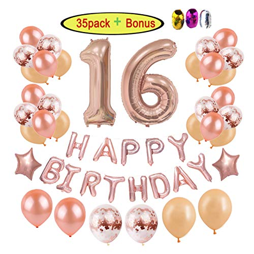16th Birthday Decorations Party Supplies for Girls | Rose Gold Sweet 16 Birthday Party - Giant Number Foil Balloon + 12 Rose Gold Confetti Balloons + Star Foil Balloon + Happy Birthday Balloon Banner