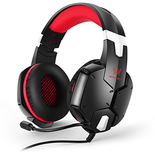 Xbox 360 Rock Skin (EasySMX PS4 Stereo Gaming Headset for PC Laptop Mobile Phones Tablet Adjustable Microphone Volume Control One-key Mute (Black and Red))