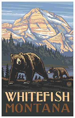Whitefish Montana Rockies Grizzly Bears Travel Art Print Poster by Paul A. Lanquist
