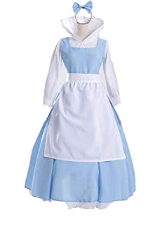 cos store womens halloween beauty and the beast belle maid lolita dress anime party school uniform