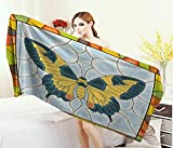 Anniutwo Butterflies,Bath Towel,Butterfly in Stained-Glass Window Frame Wing Spring Garden Illustration,Customized Bath Towels,Multicolor Size: W 19.5'' x L 39.5''