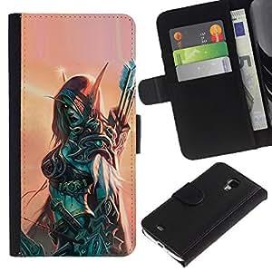 A-type (Hero Woman Armor Archer Game) Colorida Impresión Funda Cuero Monedero Caja Bolsa Cubierta Caja Piel Card Slots Para Samsung Galaxy S4 Mini i9190 (NOT S4)