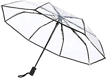 Full Automatic Folding Transparent Clear Auto Open Travel Umbrella for Women Girls 8 Ribs