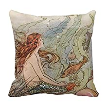 """Comi Vintage Pretty Mermaid Home Decor Pillow Case Cushion Cover 18"""" X 18"""""""
