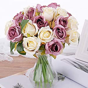 Pauwer 2 Pack (24 Heads) Artificial Rose Flower Bouquets Silk Rose Bridal Bouquets for Wedding Party Garden Home Decoration, White Purple 45
