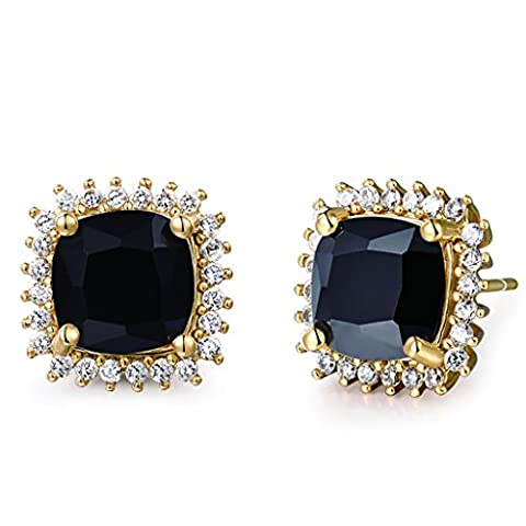 GULICX Women Yellow Gold Tone Black Crystal Party Stud Earrings