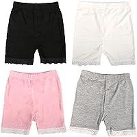 MyKazoe Girls Bike Shorts With Lace Trim (Set of 4)