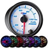GlowShift White 7 Color 100 PSI Fuel Pressure Gauge