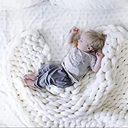 Large Chunky Knit Blanket Handmade Bulky Soft Bed Sofa Throw Blanket White 4770 Inch