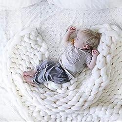Large Chunky Knit Blanket Handmade Bulky Soft Bed Sofa Throw Blanket White 4770 Inch