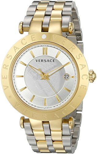 Versace Men's VQP080015 V-Race 42 mm 3 Hands Analog Display Swiss Quartz Two Tone Watch