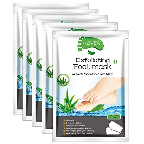 Foot Peel Mask - (5 PACK) Foot Mask for Dry Dead Skin, Callus, Repair Rough Heels - Make Your Feet Baby Soft & Get Smooth Silky Skin - Natural Treatment (Aloe)