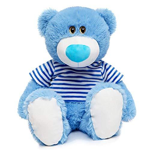 Toys Studio 24 inch Blue Teddy Bear Cute Stuffed Animals with Striped T-Shirt Plush Toy for Girlfriend Kids ()