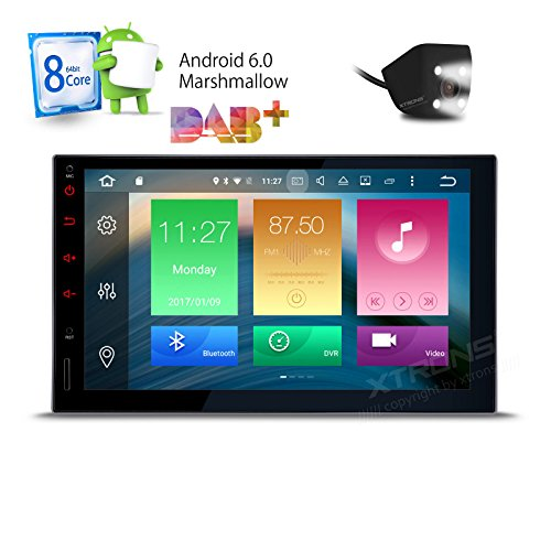 XTRONS Octa-Core 64bit 7 Inch Android 6.0 HD Digital Multi-touch Screen Car Stereo GPS Radio 1080P Video Screen Mirroring OBD2 Double 2 Din Reversing Camera Included by XTRONS