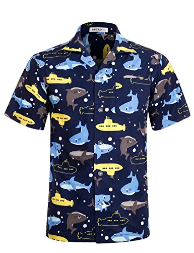Funny Hawaiian T-shirts (APTRO Men's Hawaiian Shirt Short Sleeve Funny Aloha Shirts HWS015 M DZHF)