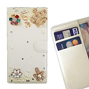 FOR Microsoft Lumia 850 Love Crown Flowers Bling Bling PU Leather Waller Holder Rhinestone - - OBBA
