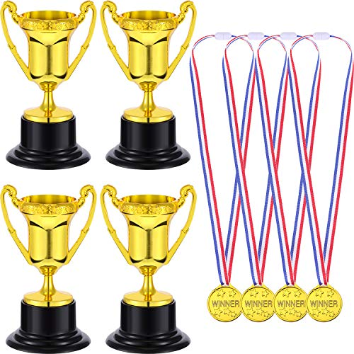 - Blulu 12 Pieces Kids Plastic Golden Award Trophy Cup and 12 Pieces Plastic Gold Winner Award Medals for Party Favors Reward Prizes