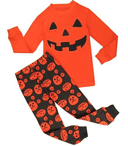 Babyroom boys Cotton 2 piece Long Sleeve Halloween pajamas Set Size 4T,Orange (Boys Halloween Clothes)