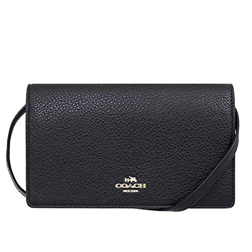 Coach Foldover Clutch Wallet Pebbled Leather Crossbody Bag F30256 (Black)