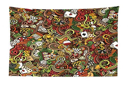 Ambesonne Casino Tapestry, Doodles Style Artwork of Bingo and Cards Excitement Checkers King Tambourine Vegas, Fabric Wall Hanging Decor for Bedroom Living Room Dorm, 45 W X 30 L inches, Multicolor