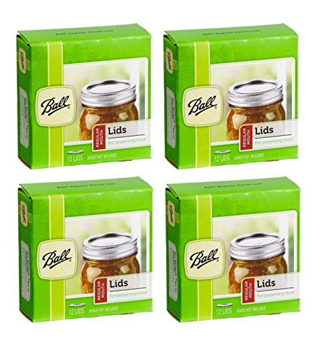 Ball Regular Mouth Canning Mason Jar Lids 4-Packs with 12-Lids Each (48 Lids Total)