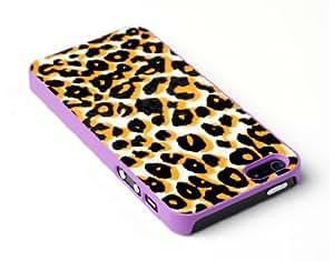 Purple Leopard Print Textured Skin Slim Fit Hard Case for Apple iPhone 5S / 5 - Includes DandyCase Screen Cleaner [Retail Packaging by DandyCase] by ruishername