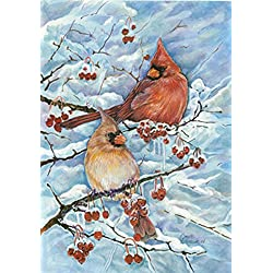 Toland Home Garden Cardinals & Berries 12.5 x 18 Inch Decorative Winter Snow Red Bird Perch Garden Flag