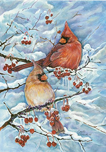 Toland Home Garden Cardinals & Berries 28 x 40 Inch Decorative Winter Snow Red Bird Perch House Flag