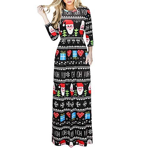 e95e9db8ea7 Vcegari Women's Ugly Christmas Santa Claus Print Party Dress Casual Holiday  Long Sleeve A Line Dress
