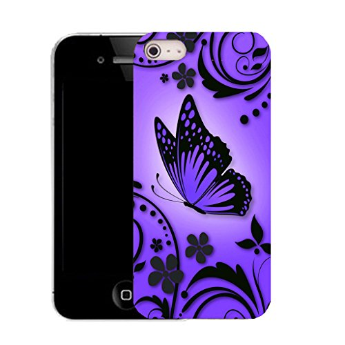 Mobile Case Mate IPhone 5 clip on Silicone Coque couverture case cover Pare-chocs + STYLET - PURPLE CARESS pattern (SILICON)
